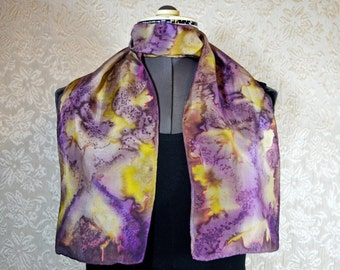 Hand dyed silk scarf, rectangular, in purple and yellow
