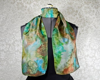 Hand dyed silk scarf, rectangular, in green, blue, and brown
