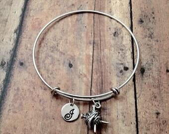 Yarn initial bangle - yarn jewelry, knitting jewelry, ball of yarn jewelry, gift for knitter, knitting needles bracelet, yarn bracelet