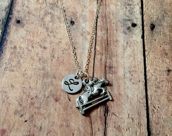 Equestrian initial necklace - horse jewelry, equestrian jewelry, horse riding jewelry, horse jumping necklace, silver equestrian necklace