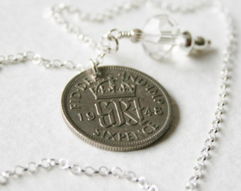 Lucky Sixpence Bridal Charm Necklace 1948
