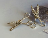 Scissor Rhinestone Post Earrings/Gypsy Style