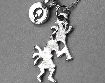 Kokopelli  necklace, Kokopelli charm necklace, personalized jewelry, personalized necklace, initial necklace, initial charm, monogram charm
