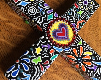 A New Heart - Hand-painted Wood Cross