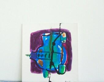Abstract Painting. Industrial Decor. Original Abstract Painting. Acrylic Painting. Modern Art. Urban Tracks Paris 8. Blue. Purple. Aqua.