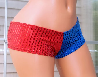 Harley Quinn Suicide Diamond Red Blue Sequin Boy Low Rise Booty Shorts Adult XS Xsmall - MTCoffinz- Ready to Ship