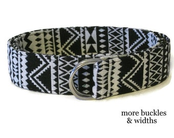 Black Fabric Belt / Tribal Belt / Black and White D-ring Belt / Aztec Belt / Native American Wide Belt  XS to Plus Size Belt