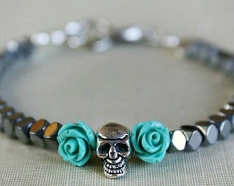 Turquoise bead modern skull flower bracelet, retro goth silver flower, gift for her, gift ideas, weddings, bridesmaids, goth weddings