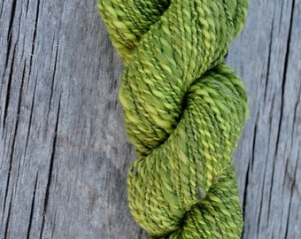 july yarn sale Green Handspun Plied Yarn in Wool and Bamboo - Bright and Dark Green Barberpole Plies Thick & Thin Fingering to DK weight. Ab