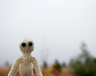 Wee Ghostie Ghoul - Spooky Hand Knit Halloween Amigurumi. Primitive Handknit Rustic Small Doll. Five Inches Tall. Do not trust the ghostie.