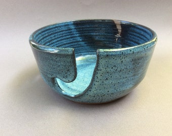 knitting and crochet bowl- pottery- blue bowl-ceramic- gift-stoneware-handmade- ready to ship Y7
