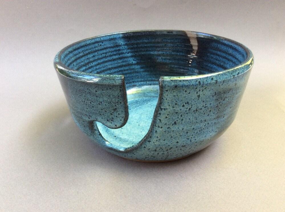 Knitting Bowl Uk : Knitting and crochet bowl pottery blue ceramic