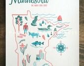 Minnesota State Letterpress Print 8x10