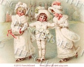 Victorian Ice Skating Trio Rare Antique French Postcard Clip Art Instant Download