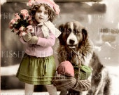 Victorian Girl and Dog St. Bernard Flowers Money Gifts Antique French postcard Digital Scan