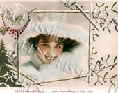 Snow Bunny Victorian Christmas Winter Beauty Altered Antique French Postcard Digital Gift Tag