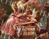 Cupid Pushing Lady off Basket Antique French Art Postcard Instant Digital Printable for Valentine's Day