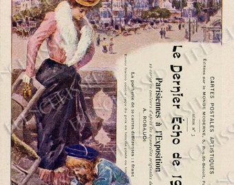 Victorian Mother and Child at Paris 1900 Expo Original Antique Postcard Collage Digital Scan