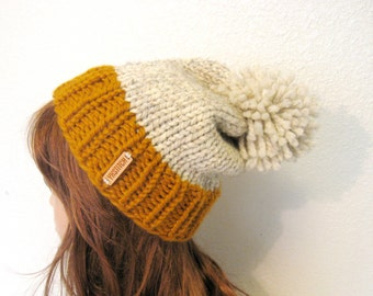 Slouchy Knit Hat with Pom Pom / VAIL / Butterscotch and Wheat