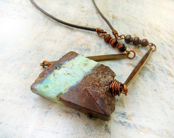 Chrysoprase necklace Earthy rustic necklace brown mint stone Bohemian jewelry