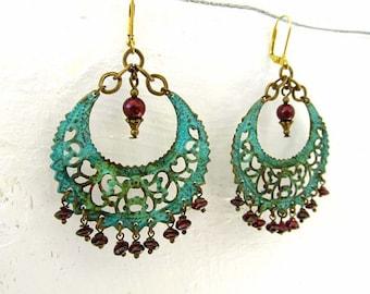 Garnet bohemian earrings big earrings turquoise gypsy bohemian jewelry gift for her