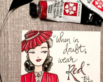 Vintage forties red fashion illustration original ACEO painting with quote