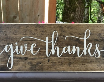 give thanks sign - thanksgiving sign - thanksgiving decor - fall - autumn - fall decor - home decor - kitchen sign - wood sign -Style# HM140