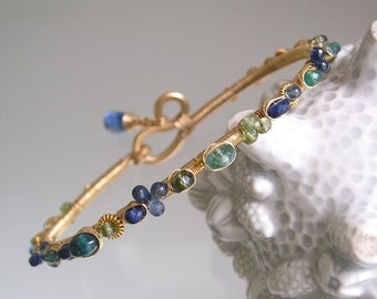 Blue Sapphire Bangle, Gold Filled Wire Wrapped Bracelet, Kyanite, Emerald, Green Apatite, Tourmaline, Original Design, Signature