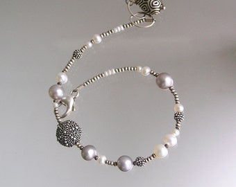 Sterling Pearl Bracelet, Skinny Beaded Bracelet, Starfish, Original Design, Signature Layering Bracelet