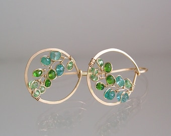 Small Emerald Earrings, Gold Filled Hoops, Wire Wrapped Green Hoops, Chrome Diopside, Tsavorite, Lightweight, Original Design, Made to Order