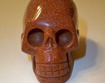 Stone Skull, Carved Goldstone Skull, Home Decor, Collectible Figurine, Metaphysical, Spiritual Stone Skull, Paperweight