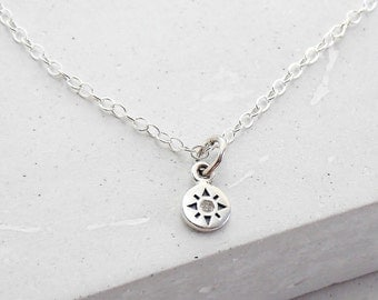 Compass Diamond Necklace | Tiny Compass Necklace | Wanderlust Travel Necklace | Charm Pendant Necklace | Sterling Silver