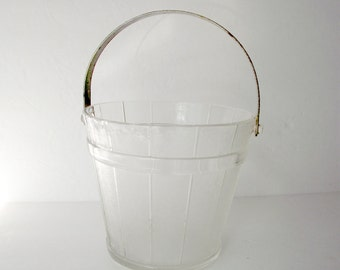 Mid Century Glass Ice Bucket Pail Design with Hammered Metal Handle Flower Vase