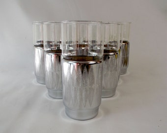 Mid Mod Etched Aluminum Base Drinking Glasses Insulated Tumblers Metal Cozies Harvey MadMen Barware Set of TEN