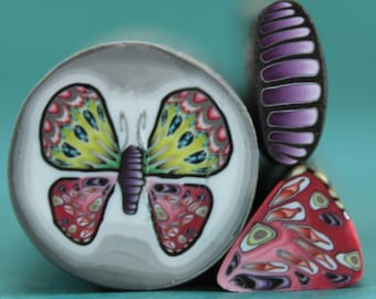 CLEARANCE SALE -Small Polymer Clay Butterfly Cane and 2 matching canes -'Mystical Meadow' (45D)