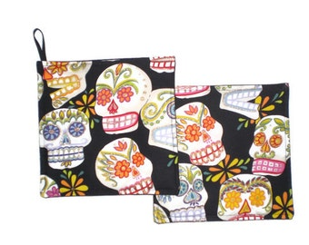 Mexican Art Pot Holders Day of the Dead Sugar Skull Set of 2 Kitchen Home Decor