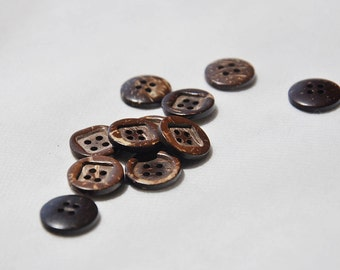 12pcs+ 15mm 4 holes Coconut shell carved Buttons