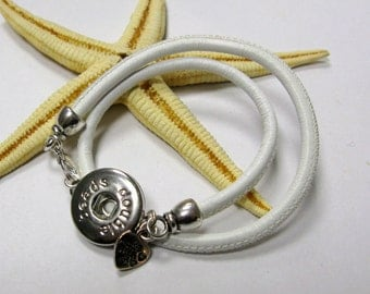 SMAUGGS leather wrap bracelet for snap charms (popper snap), clip for buttons, to wrap 2 times, colorchoice
