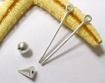SMAUGGS changeable pendant pins (2p, 55mm), screwable pins, silver or gold color, equippable length 47mm