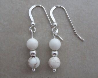 magnesite sterling silver dangle earrings