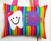 Tooth Fairy Pillow - Rainbow Stripe Purple and Pink