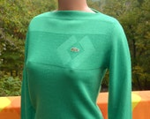 vintage 70s izod LACOSTE haymaker sweater boat neck alligator shirt women's 34 Small Medium preppy green