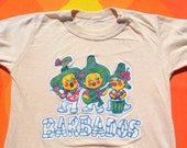 vintage 70s kids t-shirt BARBADOS rainbow travel caribbean children's tee Medium 80s