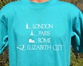 vintage 80s t-shirt ELIZABETH city north carolina london paris rome funny Large XL teal travel 1990