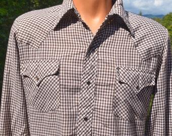 vintage 70s western shirt brown GINGHAM checker plaid pearl snaps button down collar Medium rockstar cowboy