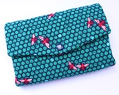 Trifold womens wallet clutch fits checkbook, iPhone 6 teal honey bees fabric