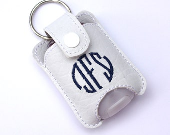 Personalized Monogram keychain - womens gift -  fits new BBW hand sanitizer holder - monogrammed vinyl key fob