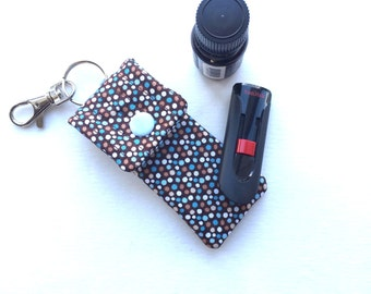 Keyring essential oil pouch - stocking stuffer - oil keyring - key fob holder - USB case brown and blue polka dot print fabric pouch