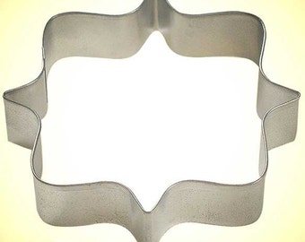 Square Plaque Frame Tin Cookie Cutter 4.25 In - for cookie dough, fondant, craft clay, bread, candy, brownies, and marshmallows  (B0871)