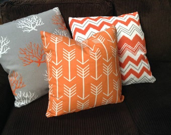 Thanksgiving Pillows Fall Decor Decorative Throw Pillow Cover Thanksgiving Decor Choose Size Orange Floral Coral Arrow Stripe Cushion Covers